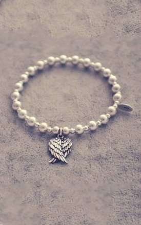 Sterling silver ball angel wings bracelet by Alyssa Jewellery Design