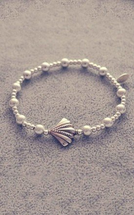 Sterling silver ball bracelet with shell charm by Alyssa Jewellery Design Product photo