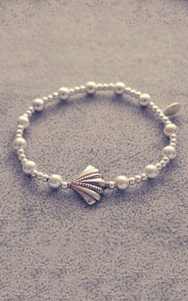 Sterling silver ball bracelet with shell charm by Alyssa Jewellery Design