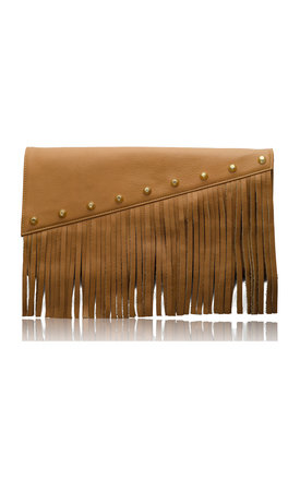 Raglan boho fringe clutch in tan leather by Driftwood Bags Product photo