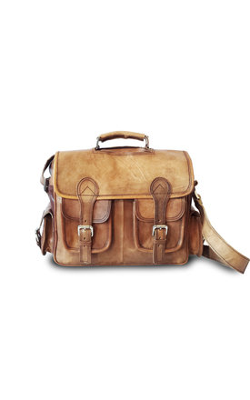 Aryan leather satchel briefcase bag by Raagaz Product photo