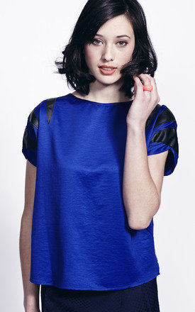 Liquorish royal blue leather detail top by Liquorish Product photo