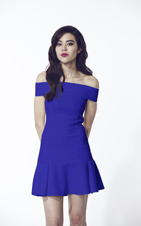 Blue off the shoulder dress  by Liquorish Product photo