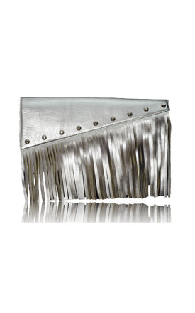 Raglan boho fringe clutch in silver leather by Driftwood Bags Product photo