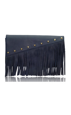 Raglan boho fringe clutch in navy blue leather by Driftwood Bags Product photo
