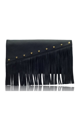 Raglan boho fringe clutch in black leather by Driftwood Bags Product photo