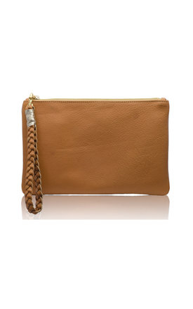 Sunset two- tone tan & gold metallic clutch by Driftwood Bags Product photo