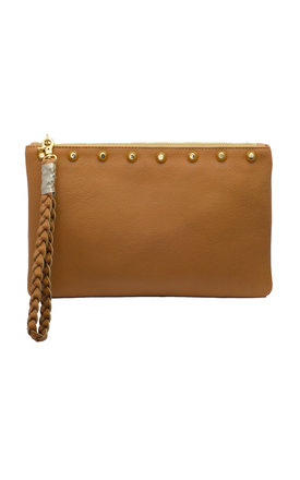Sunset tan clutch with gold studs ltd edition by Driftwood Bags Product photo