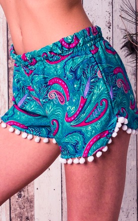 Turquoise pom pom boho beach shorts by Indigo East Product photo