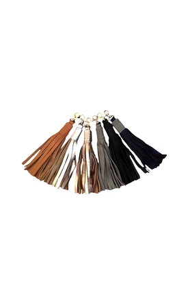 Leather clip-on Tassel in Tan by Driftwood Bags