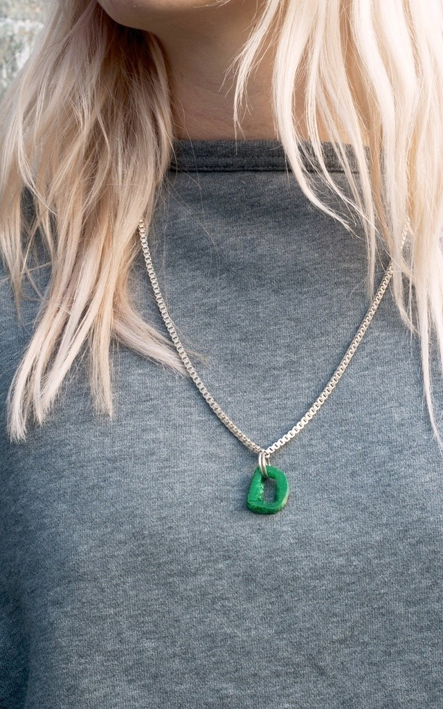 Green Crystal Slice Pendant by ONLY CHILD
