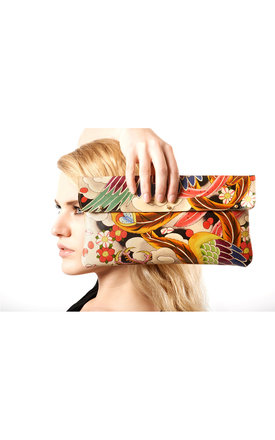 Leather clutch bag  - japanese phoenix tattoo design by Tovi Sorga Product photo
