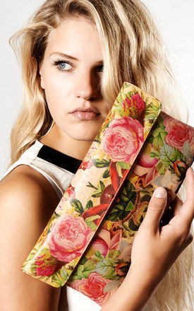 Leather clutch bag - decoupage roses by Tovi Sorga Product photo
