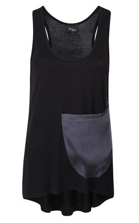 Reo&eli black mich vest with silk pocket detail by Reo&Eli Product photo