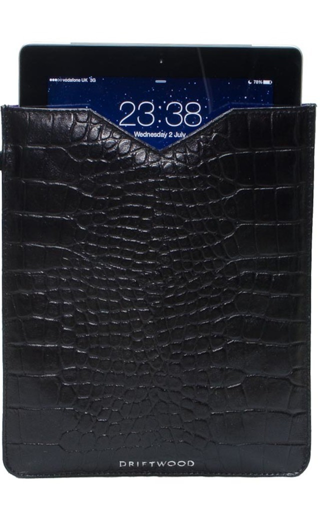 iPad Sleeve in Black Crocodile print Leather by Driftwood Bags