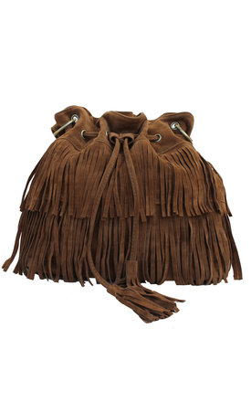 Brown fringed bag by THE CODE HANDBAGS