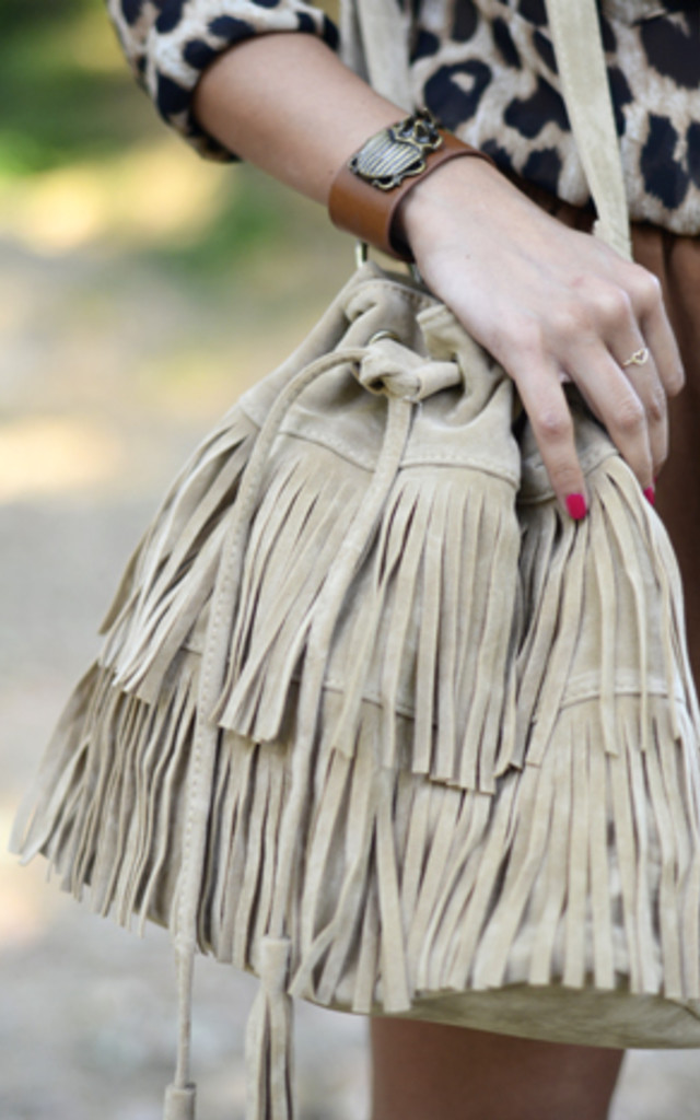 Beige Fringed bag by THE CODE HANDBAGS