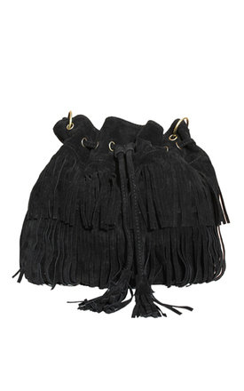 Black fringed bag by THE CODE HANDBAGS Product photo