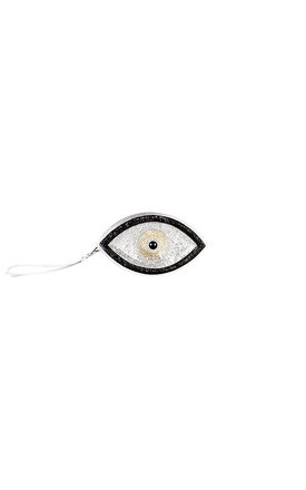 Black evil eye clutch by Sunita Mukhi Product photo