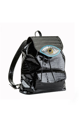 Blue evil eye backpack by Sunita Mukhi Product photo