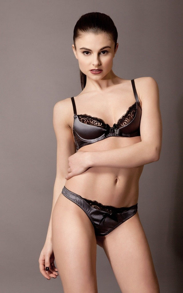 Silk Satin Half Padded Plunge Bra - steel by Emma Harris