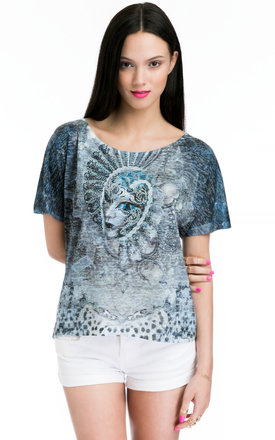 Ladies t-shirt with embellished venice mask print by JOJO LONDON Product photo