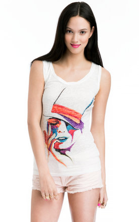 Ladies t-shirt with illustrated portrait print by JOJO LONDON Product photo