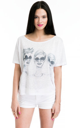 Ladies t-shirt with three portraits print by JOJO LONDON Product photo