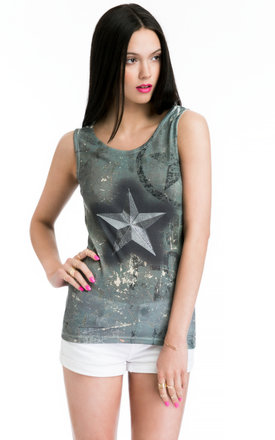 Ladies vest top with embellished star print by JOJO LONDON Product photo