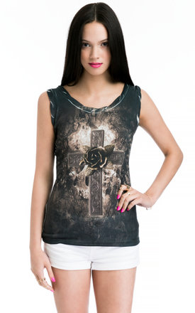 Ladies vest top with flowers on the cross print by JOJO LONDON Product photo