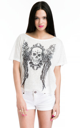 Ladies t-shirt with skull print by JOJO LONDON Product photo