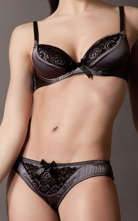 Silk Lace Front Thong - steel by Emma Harris
