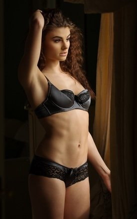 Silk balcony bra - steel by Emma Harris Product photo