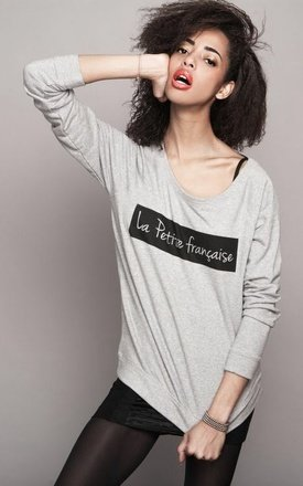 "Sweat-shirt heather grey ""la petite française "" by Parisian Rich Product photo"