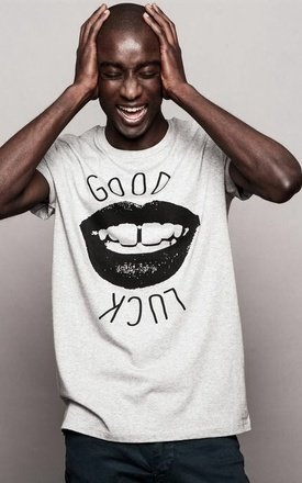 "T-shirt heather grey "" good luck "" by Parisian Rich Product photo"