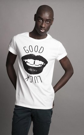 "T-shirt white "" good luck "" by Parisian Rich Product photo"