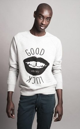"Sweat-shirt heather grey "" good luck "" by Parisian Rich Product photo"