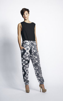 White and black aztec print high waisted trousers by Liquorish Product photo