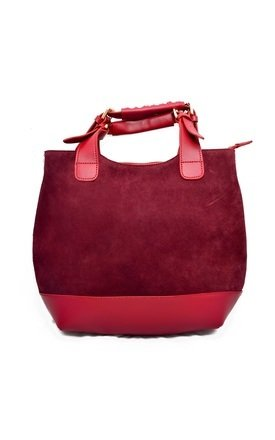 Half suede & leather red tote by Souksy Product photo