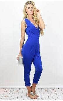 Cobalt blue plunge jumpsuit catsuit outfit by Dolly Rocka Product photo