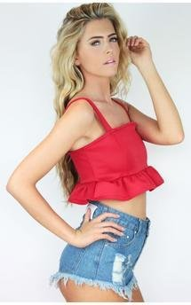 Red frill rara summer ibiza crop top by Dolly Rocka Product photo