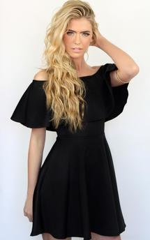 Celebrity black off the shoulder ruffle bodycon dress by Dolly Rocka Product photo