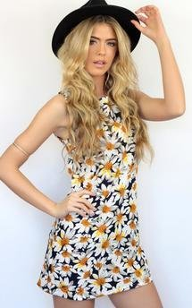 Classic daisy sunflower flower print shift dress by Dolly Rocka Product photo