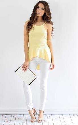 Lemon yellow peplum low back strap top by Dolly Rocka Product photo