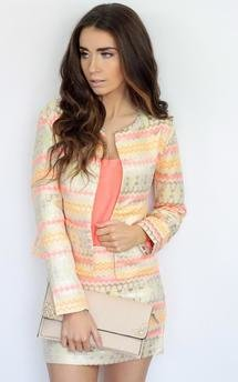 Neon aztec shine print patterened fitted jacket co-ord by Dolly Rocka Product photo