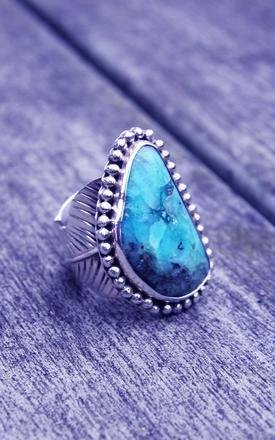 Silver feather adjustable chrysocolla ring by Indigo East Product photo