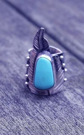 Silver feather adjustable turquoise ring by Indigo East Product photo