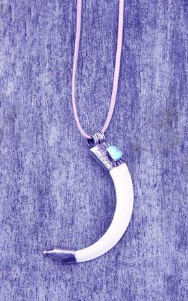 Hog tooth silver pendant with turquoise by Indigo East Product photo