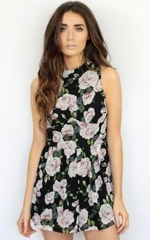Floral flower high neck playsuit outfit by Dolly Rocka Product photo
