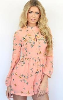 Peach bird print keyhole front long sleeved playsuit outfit by Dolly Rocka Product photo